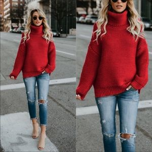 Sweaters - Women's red turtleneck chunky knit sweater